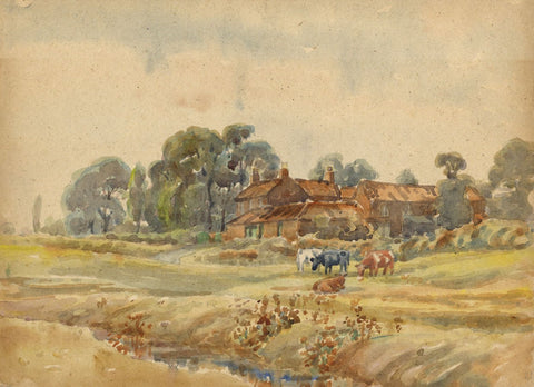 Arthur Simpson, Farm View with Cattle, Thornaby - 1930s watercolour painting