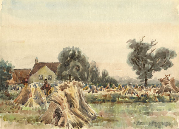 Arthur Simpson, Haystacks, Thorntree Farm, Thornaby - 1930s watercolour painting