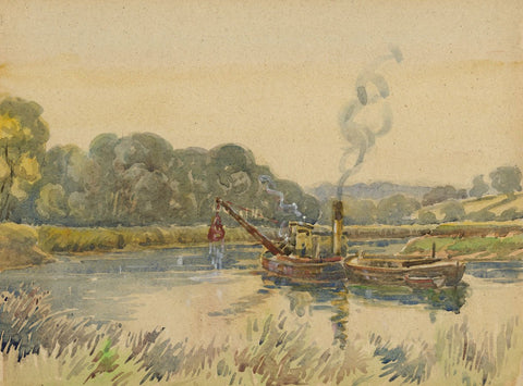 Arthur Simpson, Dredger Steamboat on the Tees - 1930s watercolour painting