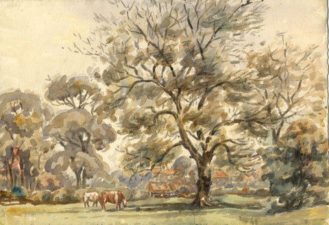 Arthur Simpson, Old Thornaby with Tree & Cows - 1930s watercolour painting