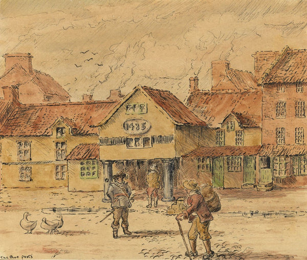 Arthur Simpson, Blue Posts Hotel, Stockton-on-Tees - 1930s pen & ink drawing