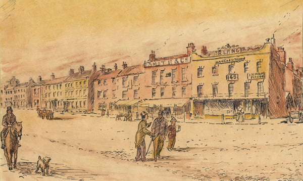 Arthur Simpson, Victorian High Street, Stockton-on-Tees -1930s pen & ink drawing