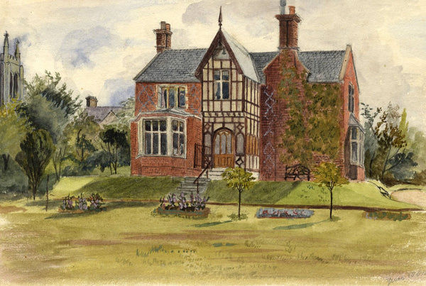 M.A. Wynell-Mayow, Victorian Red Bricked House - 1880 watercolour painting