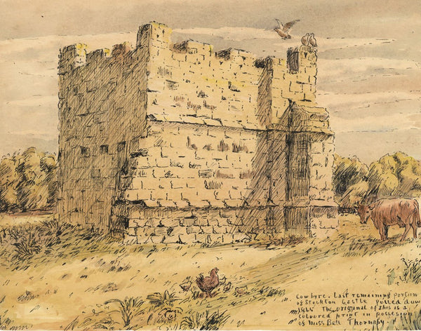 Arthur Simpson, Cow Byre, Stockton-on-Tees Castle Ruin - 1930s pen & ink drawing