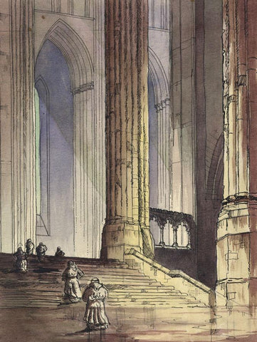 Patrick A. Faulkner, Monks on Abbey Steps - 20th-century watercolour painting