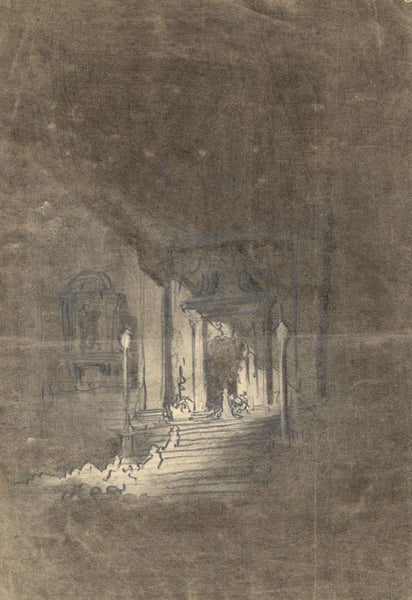 Patrick A. Faulkner, Abbey Steps Interior 'Homage' - Mid-20th-century drawing