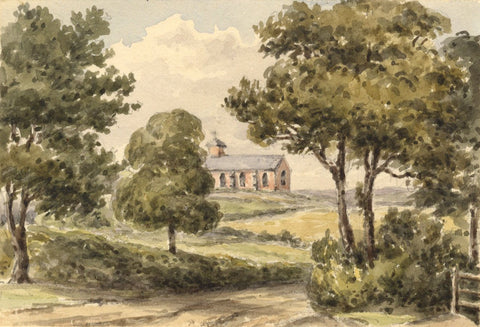Laura Burrard, St Michael's, Verwood Church, Dorset - 1840 watercolour painting