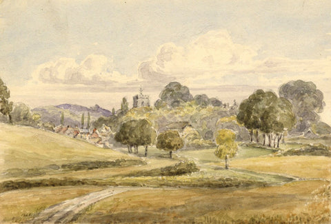 Laura Burrard, Cranborne Church View, Dorset -Original 1840 watercolour painting