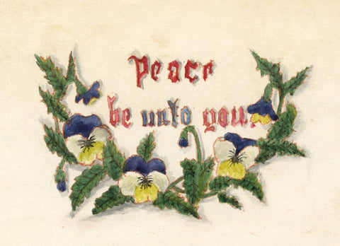 """Peace be unto you"" Dedication with Pansy Flowers - Early 19th-century painting"