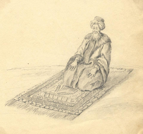 Laura Burrard, Turbaned Man Kneeling in Prayer - Early 19th-century drawing
