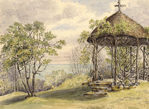 Laura Burrard, Temple at Mirables, Isle of Wight - 1826 watercolour painting