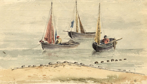 Laura Burrand, Itchen Boats off Calshot -Early 19th-century watercolour painting