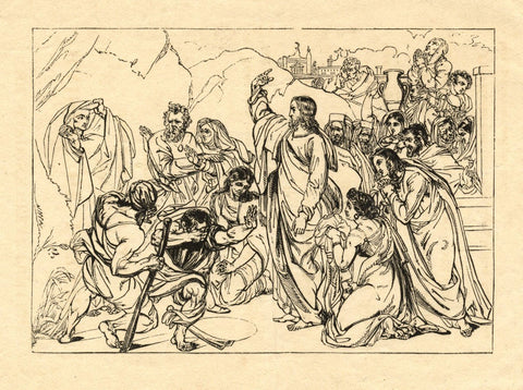 Raising of Lazarus Biblical Scene - Original early 19th-century lithograph print