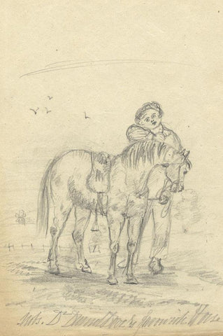 Horse & Farm Boy in a Field - Original 1850 graphite drawing