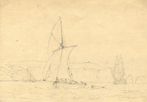 Admiral Sir Charles Burrard, Sailing Boats off Coast -Early 19th-century drawing