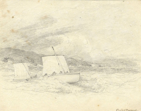 Admiral Sir Charles Burrard, Boat in Choppy Waters - Early 19th-century drawing