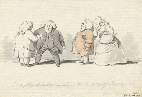 Edward Burrard, Satirical 18th-century Style Cartoon,Early 19th-century painting