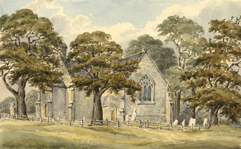 Laura Burrard, Pear Tree Church, Itchen, Hampshire - 1837 watercolour painting