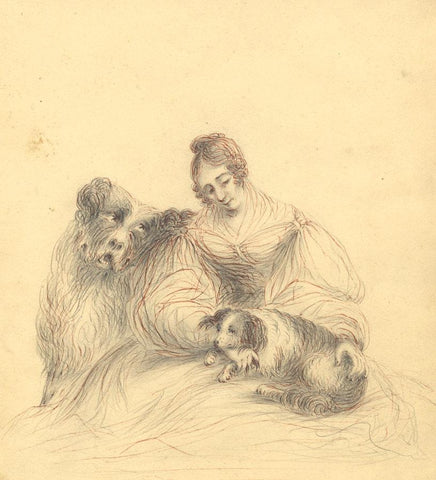 Caroline Anne Bowles (Southey), Self Portrait with Dogs - 19th-century drawing
