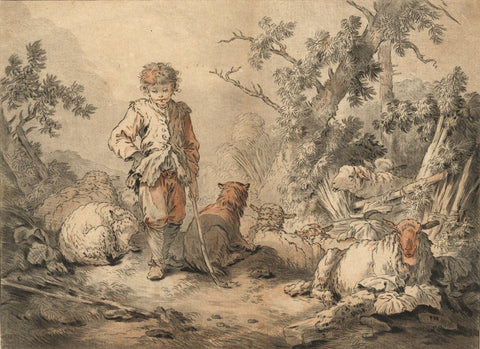Demarteau after J.B. Huet, Pastoral Scene - 18th-century hand-coloured engraving