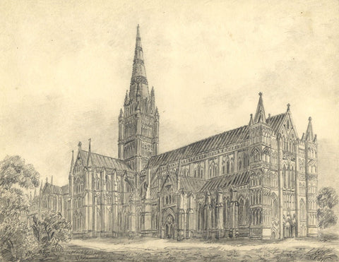 Laura Burrard, Salisbury Cathedral - Original mid-19th-century graphite drawing