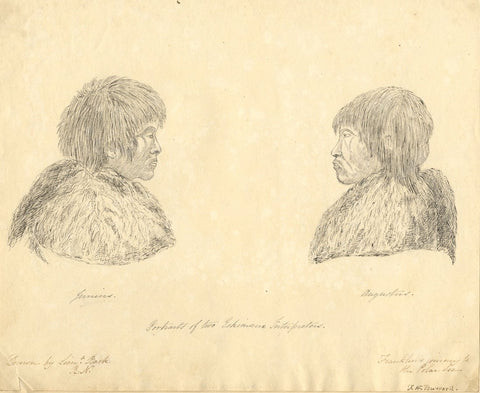 F.H. Burrard, Eskimos, Franklin's Polar Voyage, after Lieut Back - C19th drawing