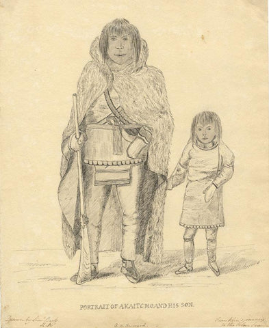 G.H. Burrard, Inuits, Franklin's Polar Voyage, after Lieut Back - C19th drawing