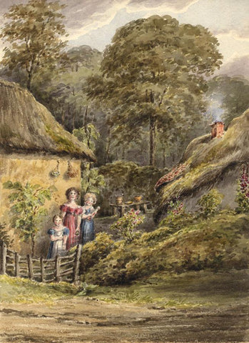 Laura Burrard, Cottages with Children, Eling, Hants - 1859 watercolour painting