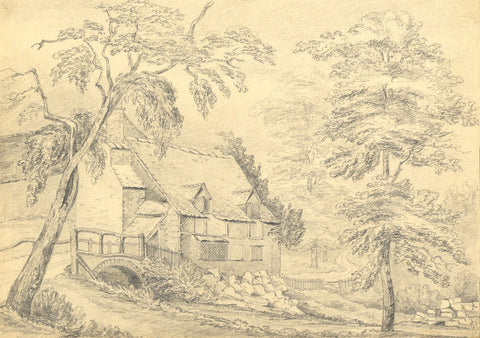 Frances Hannah Burrard, Mill nr Cheltenham - Early 19th-century graphite drawing