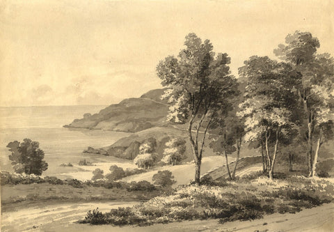 Admiral Sir Charles Burrard, Noirmont Point, Jersey -Early 19th-century painting