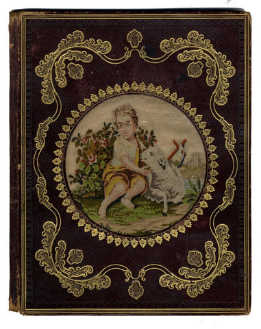 Leather Album Covers 19th-century with Silkwork Embroidery & Gold Tooling