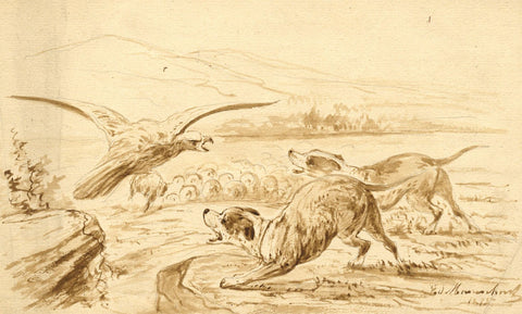 Hunting Dogs & Eagle - Original 1875 sepia watercolour painting
