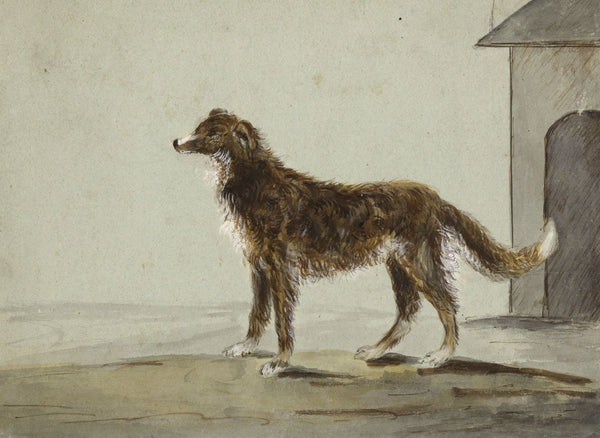 Wolfhound Dog by Kennel - Original early 19th-century watercolour painting