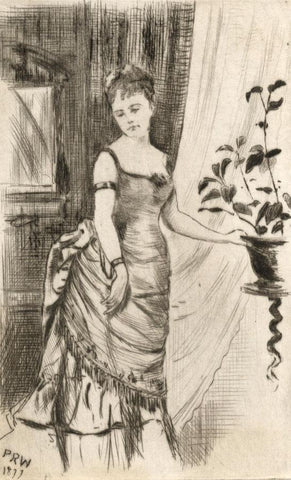 Pickford Robert Waller, Victorian Young Lady Standing - 1877 etching print