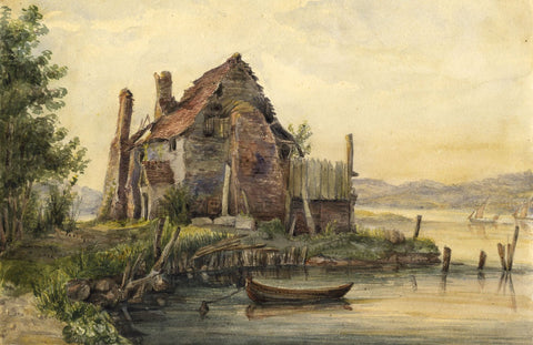 Ladbury's Cottage, Rochester, Kent - Mid-19th-century watercolour painting