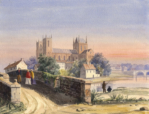 Ripon Cathedral, Yorkshire at Sunset - Mid-19th-century watercolour painting