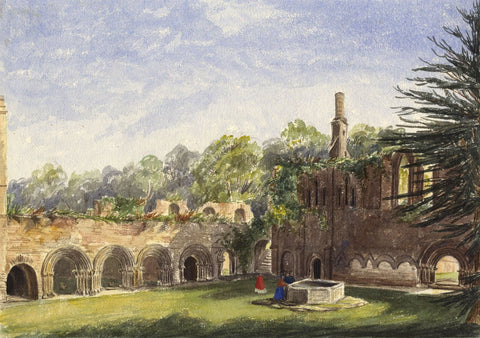 Fountains Abbey Cloisters North Yorkshire -Mid-19th-century watercolour painting