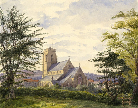 Rural English Church - Original mid-19th-century watercolour painting