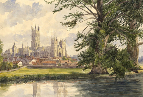 Canterbury Cathedral from Abbot's Mill - mid-19th-century watercolour painting