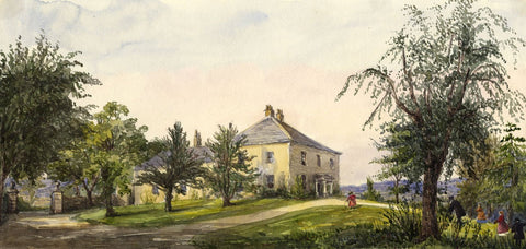 St Paul's Vicarage, Alnwick - Original mid-19th-century watercolour painting