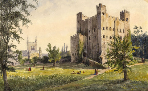 Rochester Castle & Church, Kent - Original mid-19th-century watercolour painting
