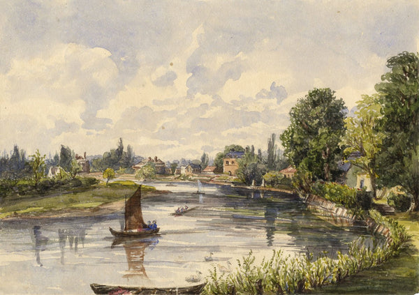 River Thames, Upper Halliford - Original mid-19th-century watercolour painting