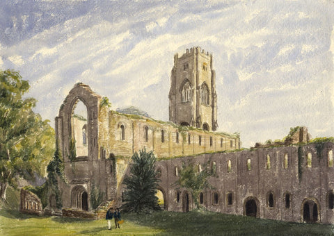 West Door, Fountains Abbey, Yorkshire - mid-19th-century watercolour painting