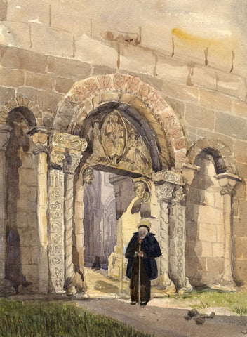 Prior's Door, Ely Cathedral - Original mid-19th-century watercolour painting
