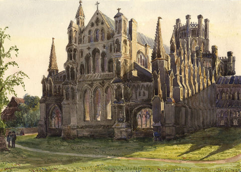 East End View, Ely Cathedral - Original mid-19th-century watercolour painting