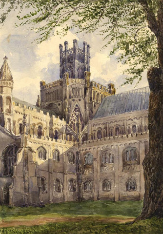 Ely Cathedral, Cambridge - Original mid-19th-century watercolour painting