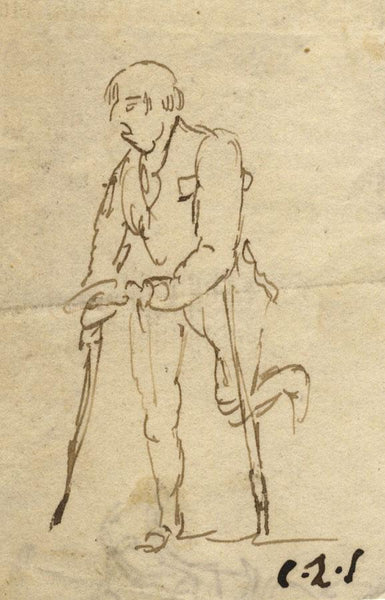 Charles Loraine-Smith, Beggarman with Crutches - Early 19th-century ink drawing