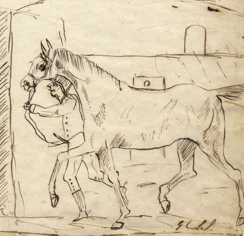 Charles Loraine-Smith, Horse Lead to Stables - Early 19th-century ink drawing