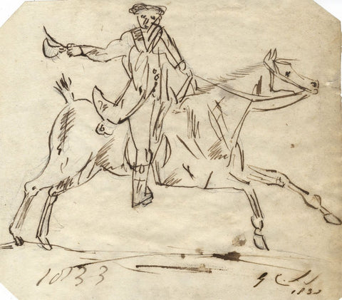 Charles Loraine-Smith, Gentleman on Horseback - Original 1833 pen & ink drawing
