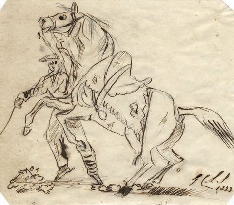 Charles Loraine-Smith, Rearing Horse & Rider - Original 1833 pen & ink drawing